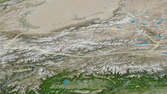 Revolution around Karakoram mountain range - glowed. Satellite imagery Stock Footage