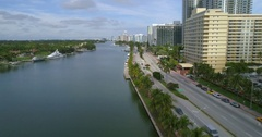 Cinematic aerial footage of Miami Beach Stock Footage