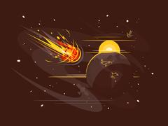 Burning comet in space Stock Illustration