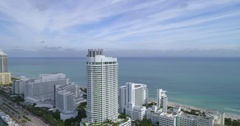 Fontainebleau Hotel Miami Beach aerial footage Stock Footage