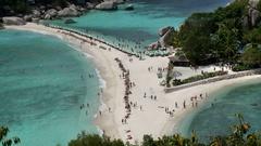 Thailand Thailand, Koh Tao, Koh Nang Yuan island sand bar Stock Footage