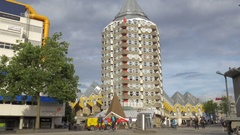 View of Pencil Tower and Cube Houses, Rotterdam, Netherlands Stock Footage