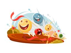 Funny emotional smileys in race Stock Illustration