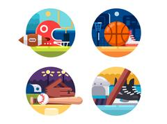 Colored icons popular sports Stock Illustration