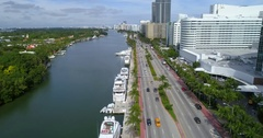 Aerial shot of Miami Beach and Fontainebleau Hotel Stock Footage