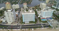 Fort Lauderdale beachfront resorts 4k aerial video Stock Footage