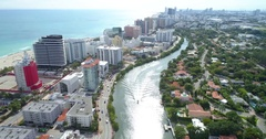 Indian Creek  Miami Beach aerial footage Stock Footage