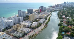 Indian Creek aerial footage Miami Beach Stock Footage