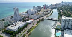 Miami Beach Indian Creek and 41st Street aerial footage Stock Footage