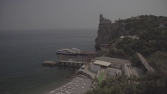 """Sea - view from above. The architectural complex """"Swallow's Nest."""" Stock Footage"""