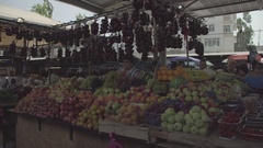 Urban food market. A lot of different fruits. Trader. Russia. Stock Footage