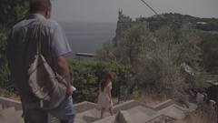 "People walking down the stairs to the sea. The archit. complex ""Swallow's Nest."" Stock Footage"