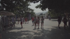 City Park. Beautiful girls are. Summer. Russia. Stock Footage