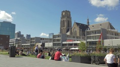 Rotterdam view St. Lawrence Church, Netherlands Stock Footage