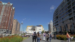 Rotterdam view with Central Library and St. Lawrence Church Stock Footage