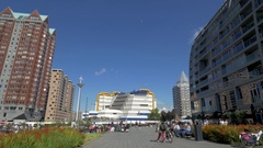Rotterdam architecture, view with Central Library and St. Lawrence Church Stock Footage
