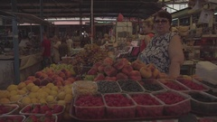 People's food market. Fruit. Woman vendor. Summer. Russia. Stock Footage