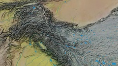 Zoom into Karakoram mountain range - masks. Topographic map Stock Footage
