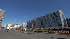 Street in Rotterdam with Central Library and Market Hall Stock Footage