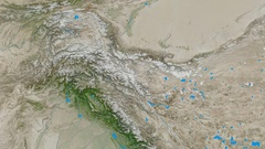 Zoom into Karakoram mountain range - masks. Satellite imagery Stock Footage