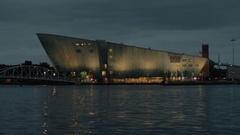 Waterside view of NEMO Science Museum, Amsterdam Stock Footage