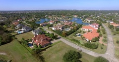 Aerial view of Affluent neighborhood in Houston. Real Estate concept Stock Footage
