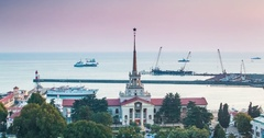 Marine Station of Sochi, View from City Stock Footage