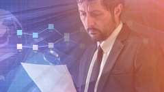 Financial auditor analyzing business data infographics Stock Footage