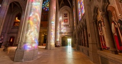Timelapse of light rays interior of grace cathedral church, san francisco Stock Footage