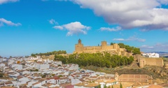 Panoramic time lapse cityscape of Antequera Stock Footage