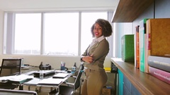 Inspired Young Business Woman Standing At The Office Stock Footage