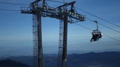 Great support in the ski resort. 4k. Russia, Tashtagol, Sheregesh, 4 December Stock Footage