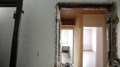 Man installing new door frame Stock Footage