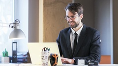 Young Businessman is Really Happy. He Has a Job of His Dreams Stock Footage