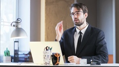 Young Businessman Angry During Videoconference Stock Footage