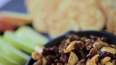 Caramel nut and cranberry brie appetizer for Christmas party. Stock Footage