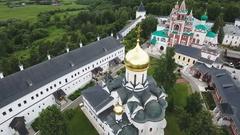 Orthodox Christian monastery.Aerial view Stock Footage