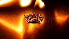 Ancient pentagram burning 4K footage Stock Footage