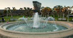 Timelapse of fountain in san francsco golden gate park De Young Museum Stock Footage