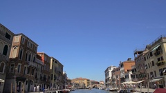 View from water bus moving along Grand Canal, sightseeing trip around Venice Stock Footage