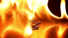 Ancient pentagram burning slow motion from 120fps Stock Footage