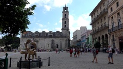 Plaza de San Francisco in the Old Havana (La Habana Vieja). Cuba Stock Footage