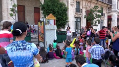 Children's Puppetry at the Plaza de San Francisco. Old Havana, Cuba Stock Footage