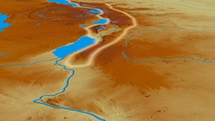 Glide over Mitumba mountain range - glowed. Relief map Stock Footage