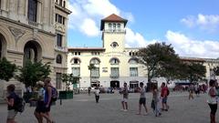 Plaza de San Francisco in the Old Havana (La Habana Vieja). Cuba Stock Footage