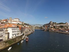 The Great River Douro in the Beautiful City of Porto, Portugal Stock Footage