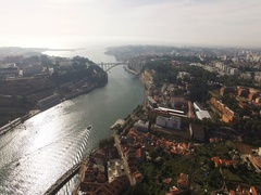 River Douro and Porto City, Portugal Stock Footage