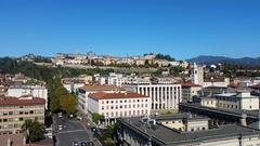 Bergamo - Old city (Città Alta).  Landscape on the old city during a blu day. Stock Footage