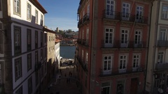 People Walking in the Old Streets of Ribeira in City of Porto near River Douro, Stock Footage