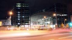 Berlin Hauptbahnhof Night time lapse Stock Footage